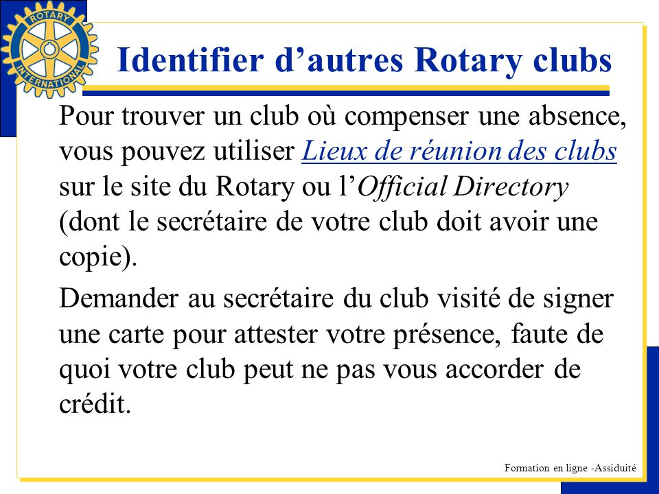Identifier d'autres Rotary clubs