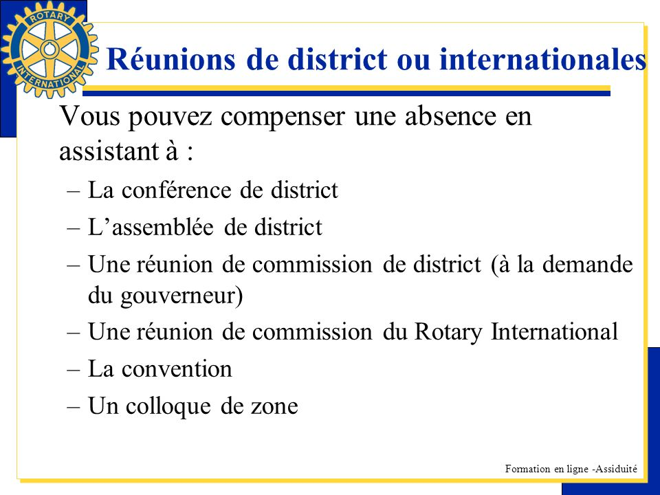 Réunions de district ou internationales
