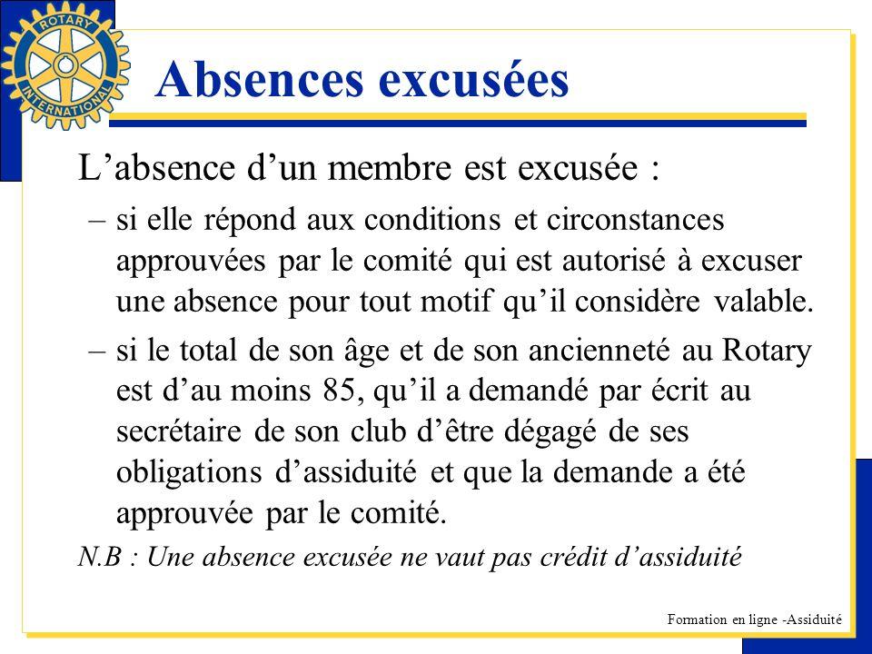 Absences excusées L'absence d'un membre est excusée :