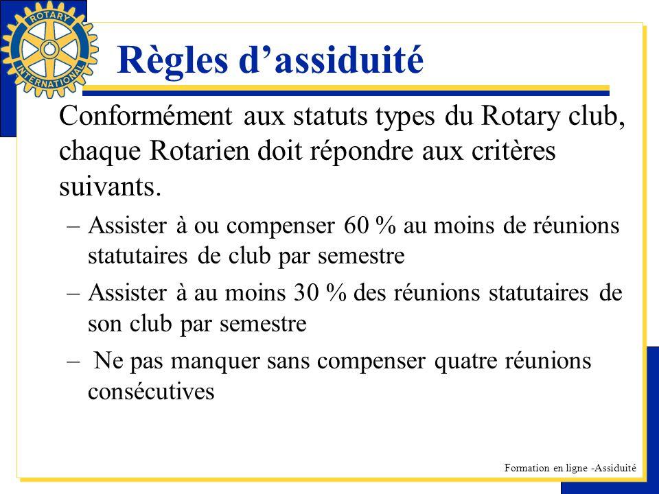 Règles d'assiduité Conformément aux statuts types du Rotary club, chaque Rotarien doit répondre aux critères suivants.