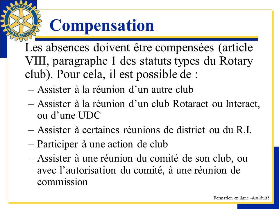 Compensation Les absences doivent être compensées (article VIII, paragraphe 1 des statuts types du Rotary club). Pour cela, il est possible de :