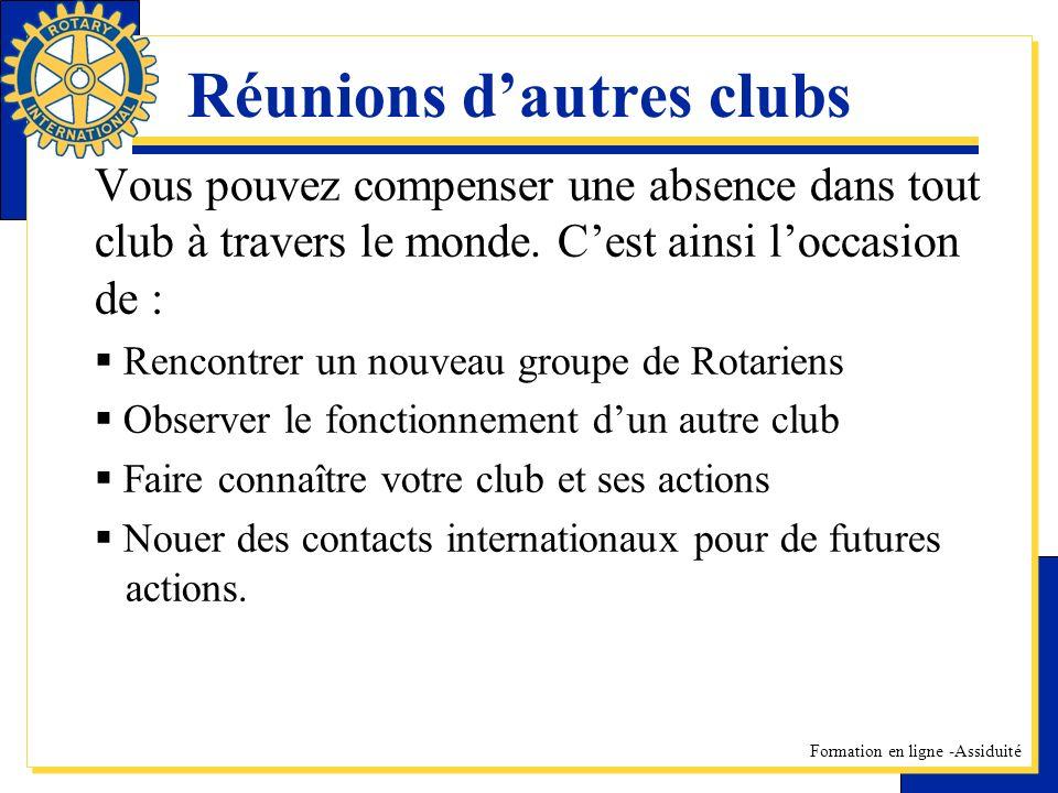Réunions d'autres clubs