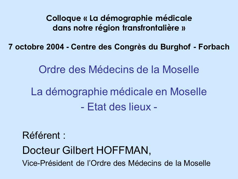 Ordre des Médecins de la Moselle La démographie médicale en Moselle