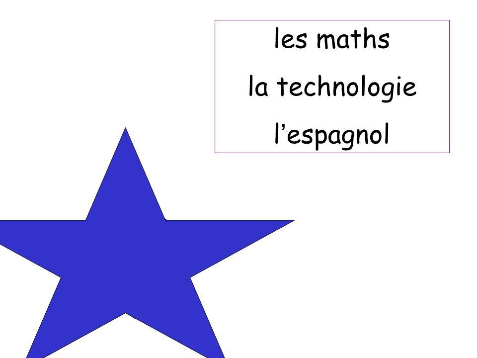 les maths la technologie l'espagnol