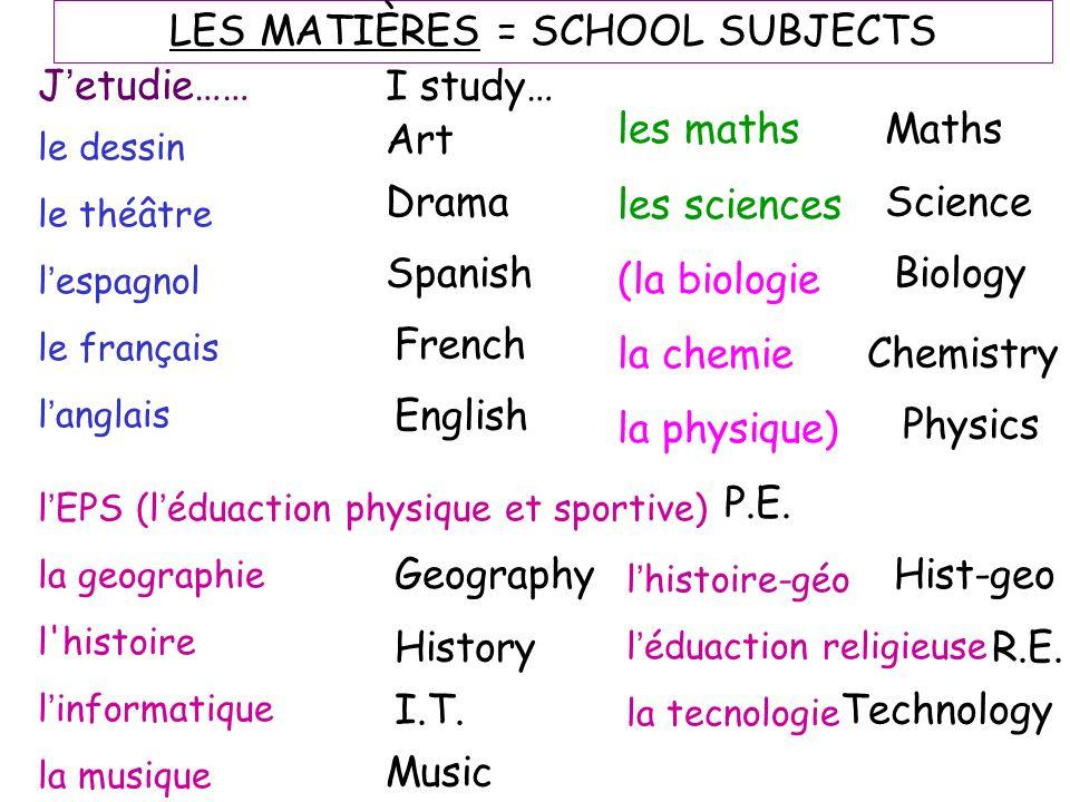 LES MATIÈRES = SCHOOL SUBJECTS