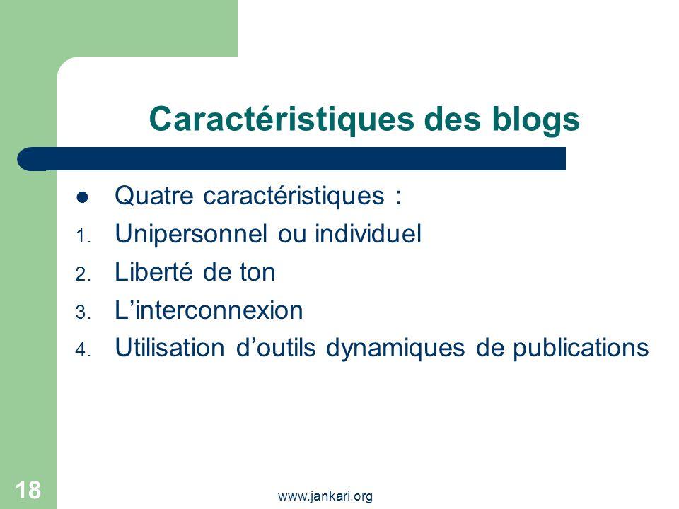 Caractéristiques des blogs