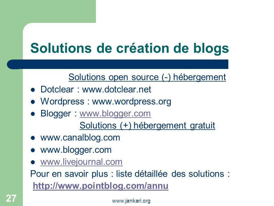 Solutions de création de blogs