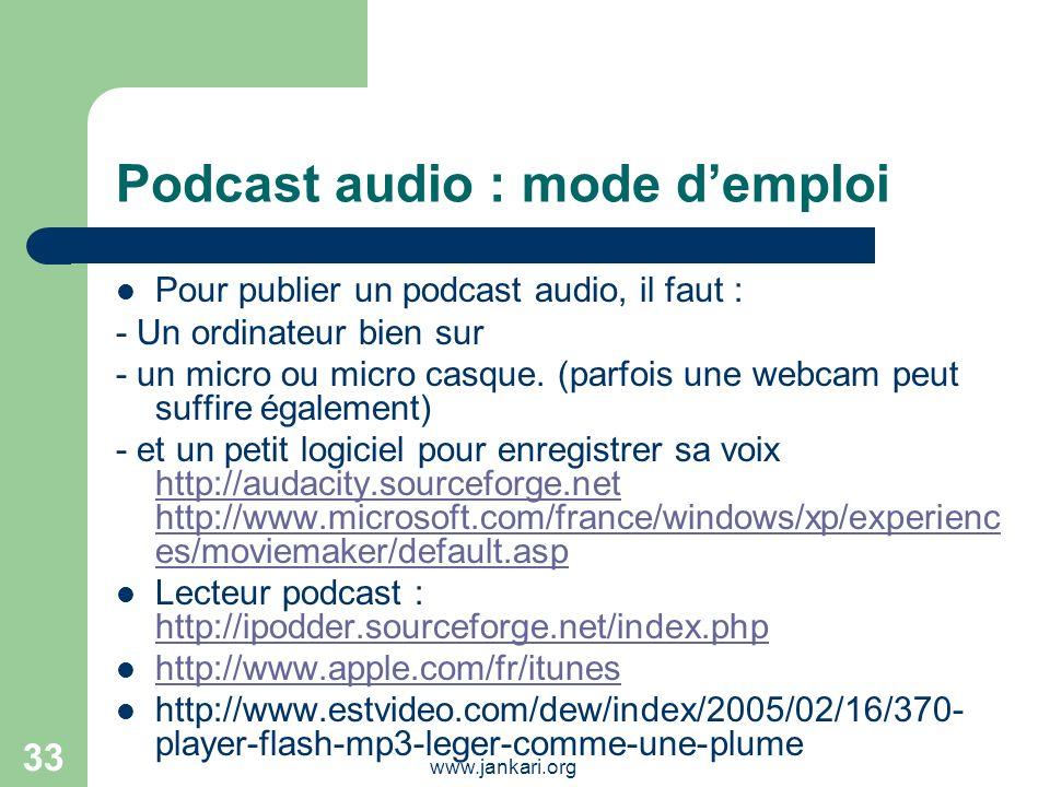Podcast audio : mode d'emploi
