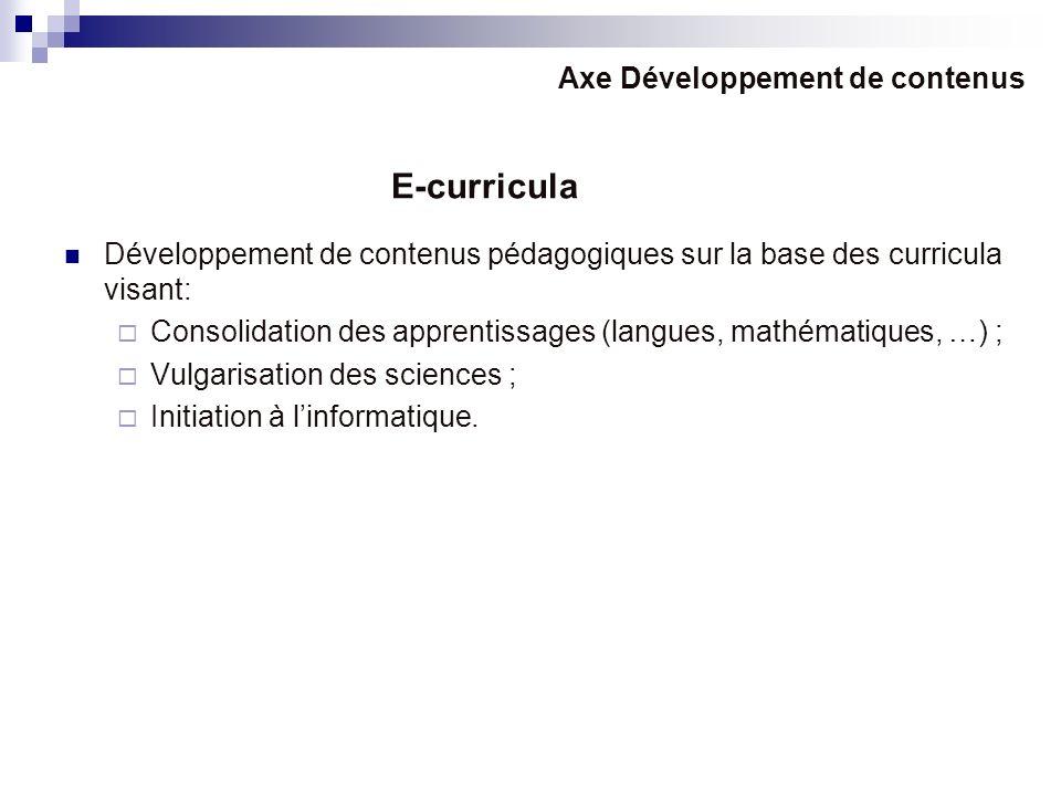 E-curricula Axe Développement de contenus