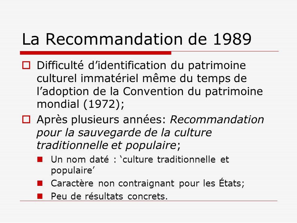 La Recommandation de 1989