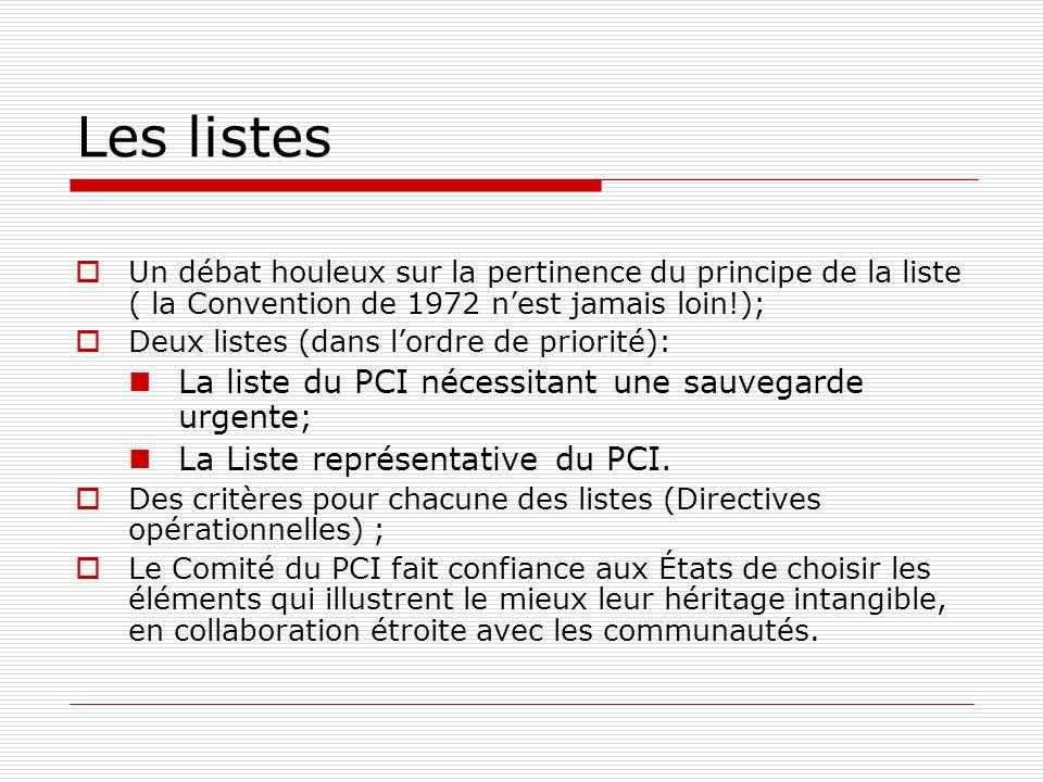 Les listes La liste du PCI nécessitant une sauvegarde urgente;