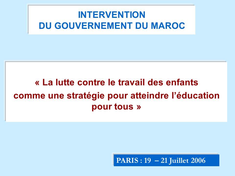 INTERVENTION DU GOUVERNEMENT DU MAROC