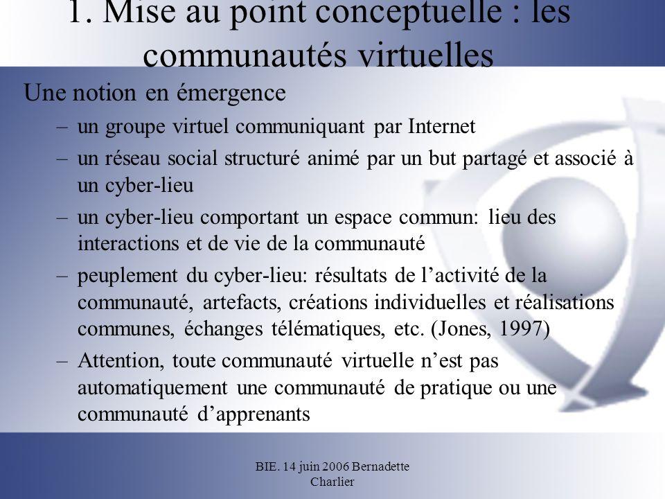 1. Mise au point conceptuelle : les communautés virtuelles