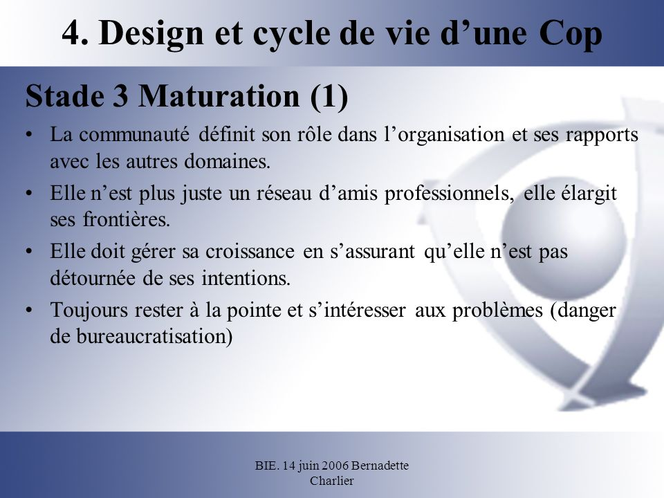 4. Design et cycle de vie d'une Cop