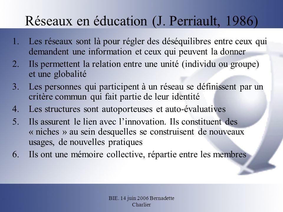 Réseaux en éducation (J. Perriault, 1986)