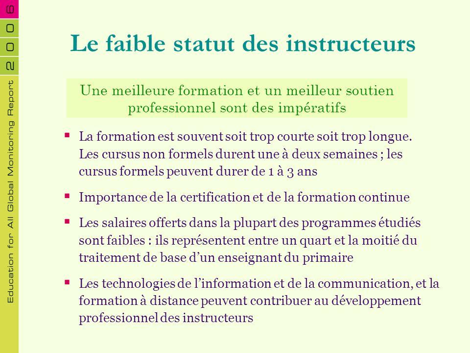 Le faible statut des instructeurs