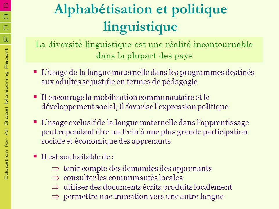 Alphabétisation et politique linguistique