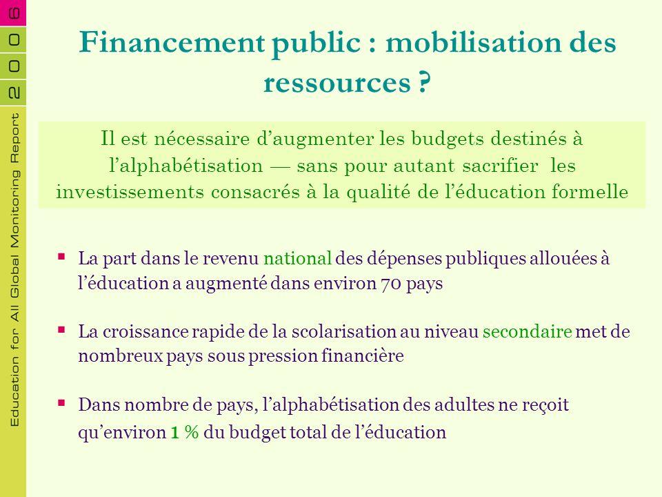 Financement public : mobilisation des ressources