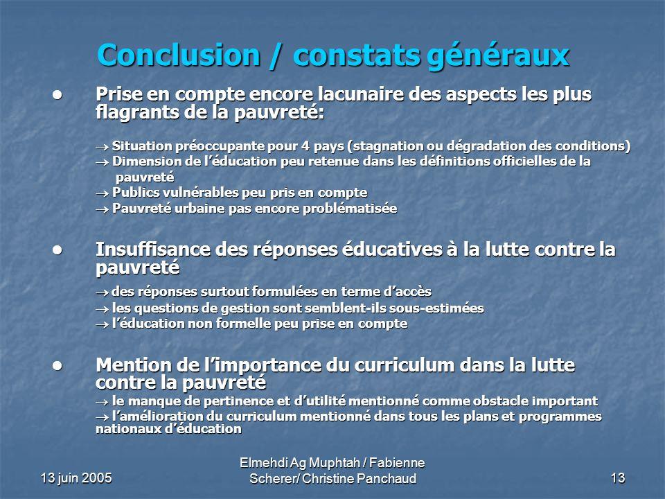 Conclusion / constats généraux