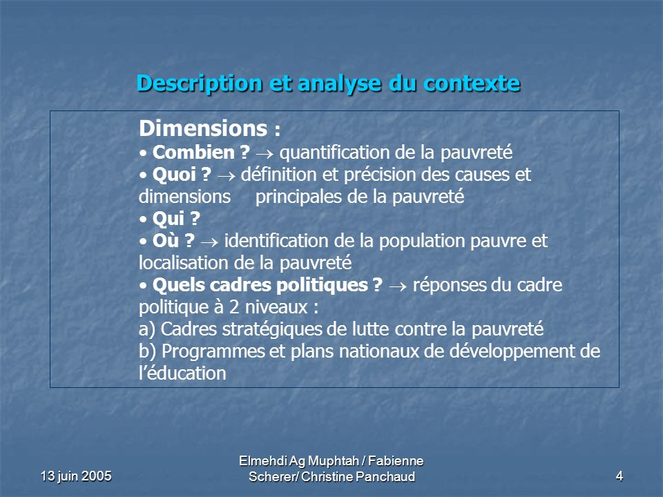 Description et analyse du contexte