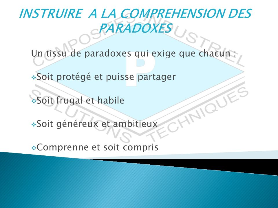INSTRUIRE A LA COMPREHENSION DES PARADOXES