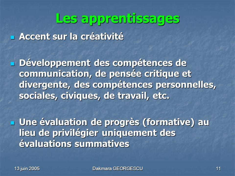 Les apprentissages Accent sur la créativité