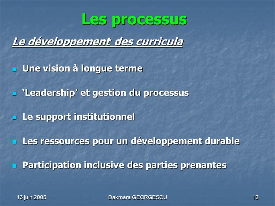 Les processus Le développement des curricula Une vision à longue terme