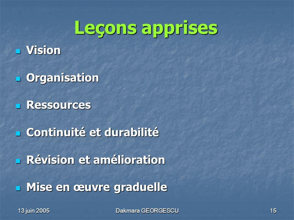 Leçons apprises Vision Organisation Ressources