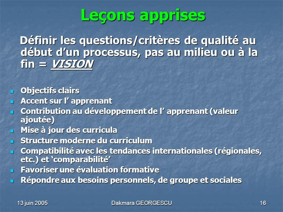 Leçons apprises Définir les questions/critères de qualité au début d'un processus, pas au milieu ou à la fin = VISION.