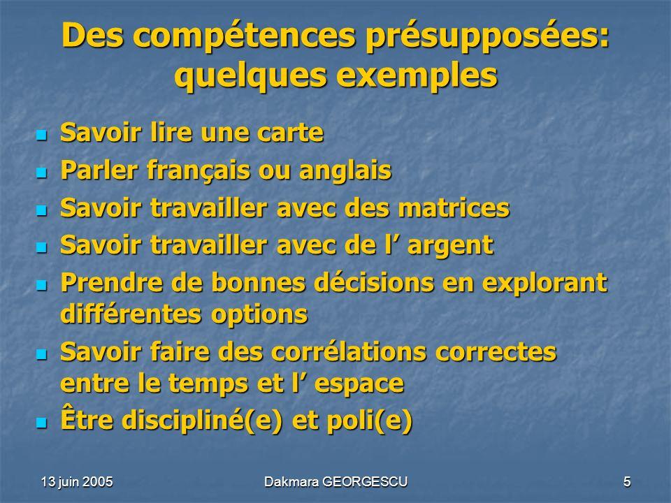 Des compétences présupposées: quelques exemples