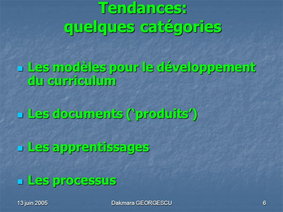 Tendances: quelques catégories