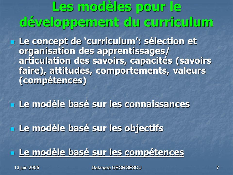 Les modèles pour le développement du curriculum