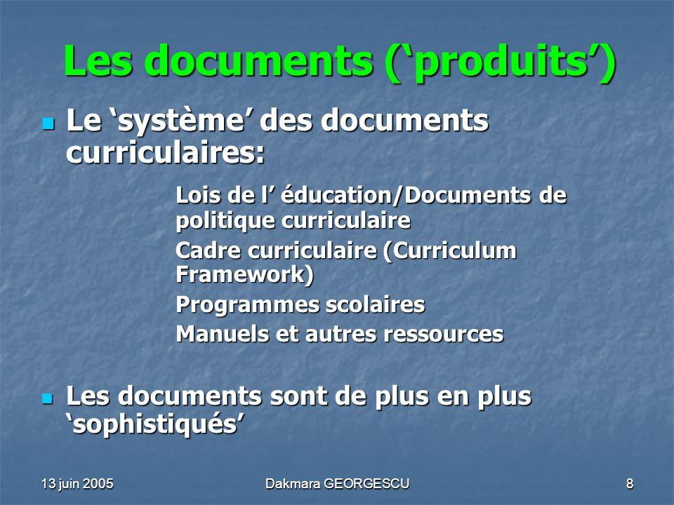 Les documents ('produits')