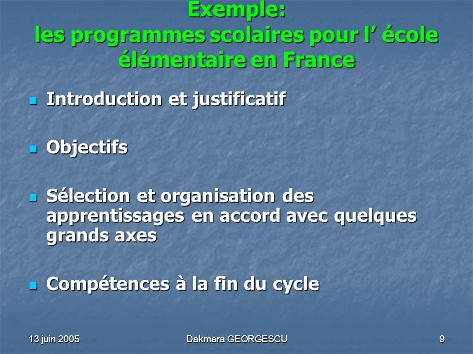 Exemple: les programmes scolaires pour l' école élémentaire en France
