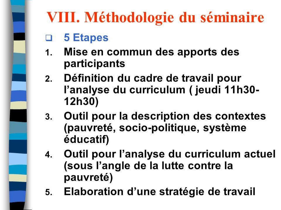 VIII. Méthodologie du séminaire