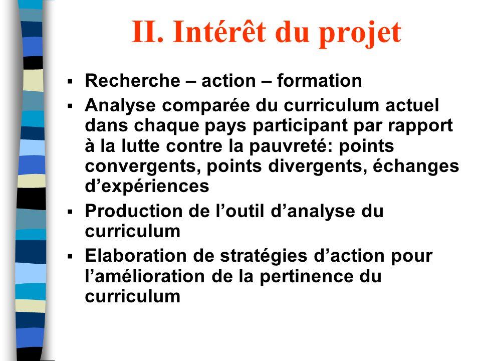 II. Intérêt du projet Recherche – action – formation