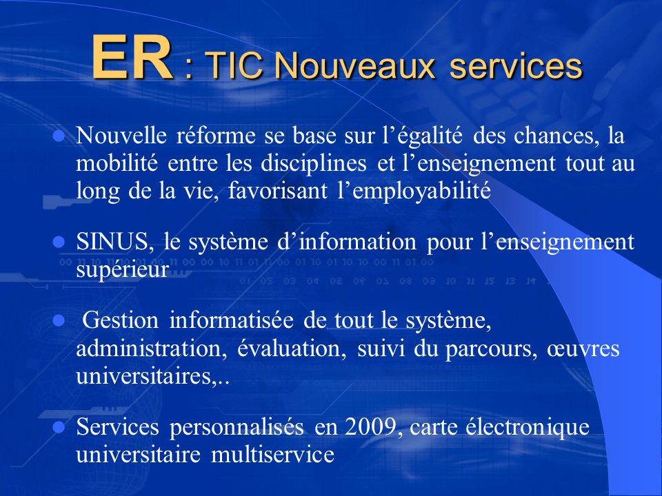ER : TIC Nouveaux services