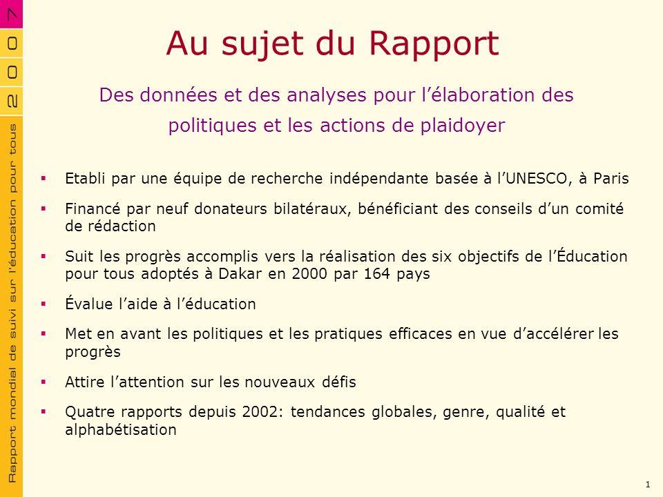 Au sujet du Rapport Des données et des analyses pour l'élaboration des politiques et les actions de plaidoyer.