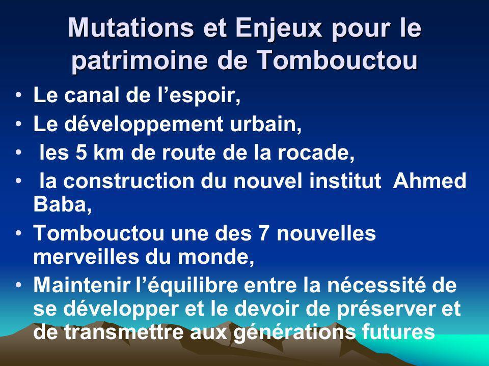 Mutations et Enjeux pour le patrimoine de Tombouctou