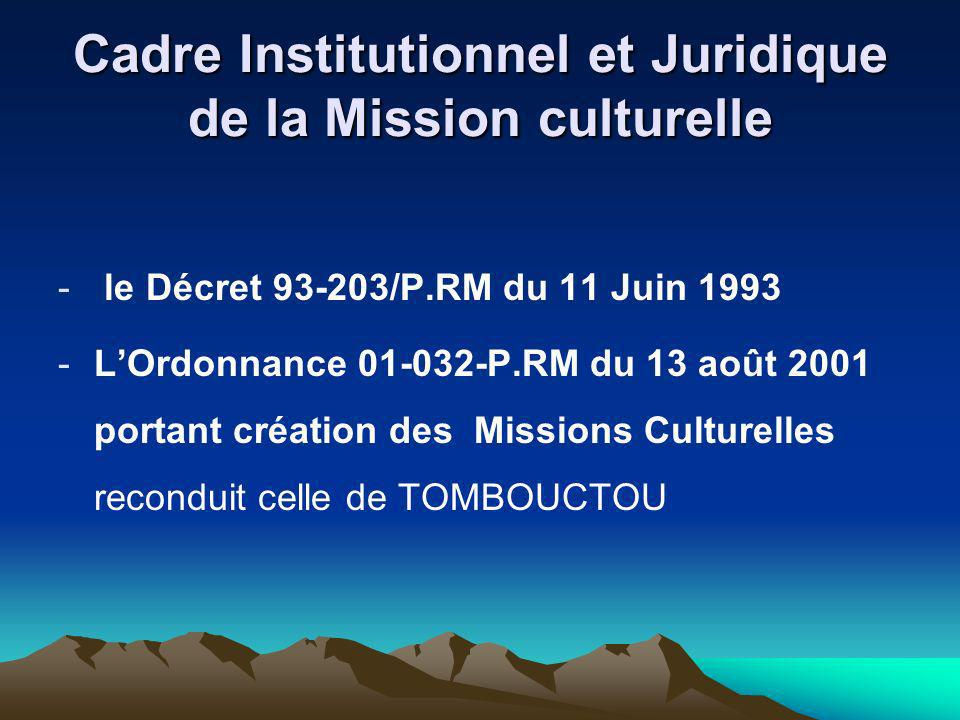 Cadre Institutionnel et Juridique de la Mission culturelle