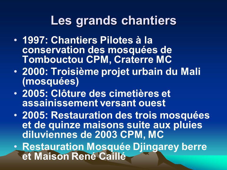 Les grands chantiers 1997: Chantiers Pilotes à la conservation des mosquées de Tombouctou CPM, Craterre MC.