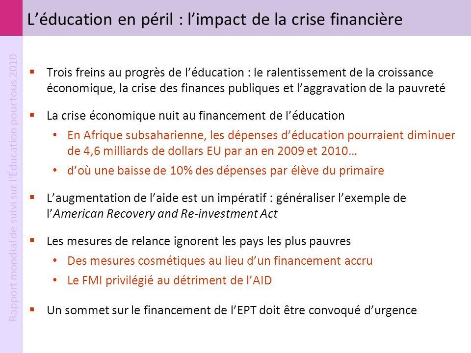 L'éducation en péril : l'impact de la crise financière