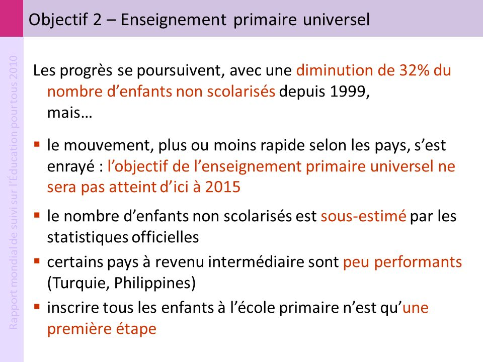 Objectif 2 – Enseignement primaire universel