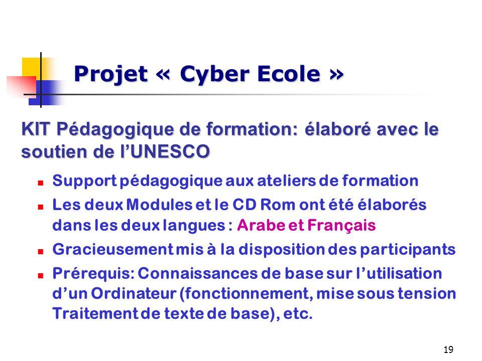 Projet « Cyber Ecole »KIT Pédagogique de formation: élaboré avec le soutien de l'UNESCO. Support pédagogique aux ateliers de formation.
