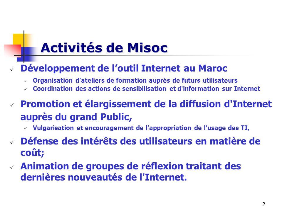 Activités de Misoc Développement de l'outil Internet au Maroc