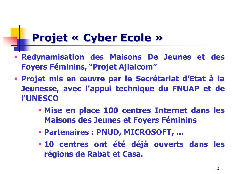 Projet « Cyber Ecole »Redynamisation des Maisons De Jeunes et des Foyers Féminins, Projet Ajialcom