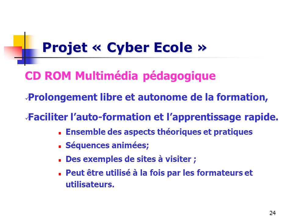 Projet « Cyber Ecole » CD ROM Multimédia pédagogique