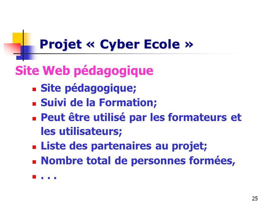 Projet « Cyber Ecole » Site Web pédagogique Site pédagogique;