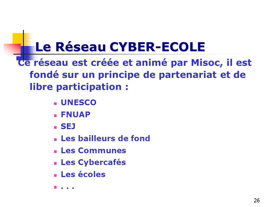 Le Réseau CYBER-ECOLE Ce réseau est créée et animé par Misoc, il est fondé sur un principe de partenariat et de libre participation :