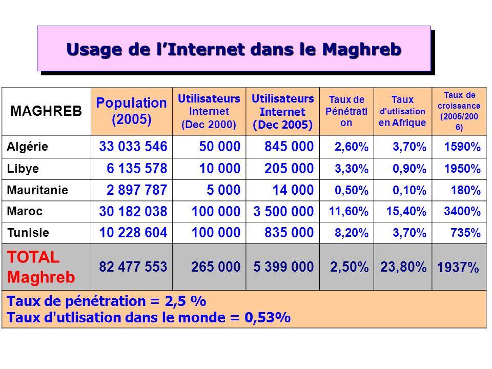 Usage de l'Internet dans le Maghreb